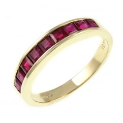 18ct yellow gold 1.10ct ruby half eternity ring