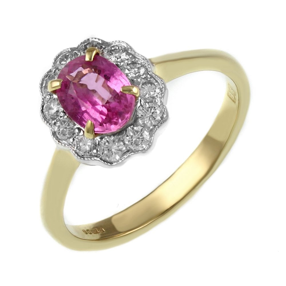 b1b0ae40e 18ct yellow gold 1.12ct pink sapphire & 0.34ct diamond ring - Jewellery  from Mr Harold and Son UK