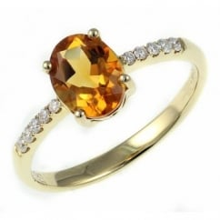 18ct yellow gold 1.13ct citrine & 0.11ct diamond ring.
