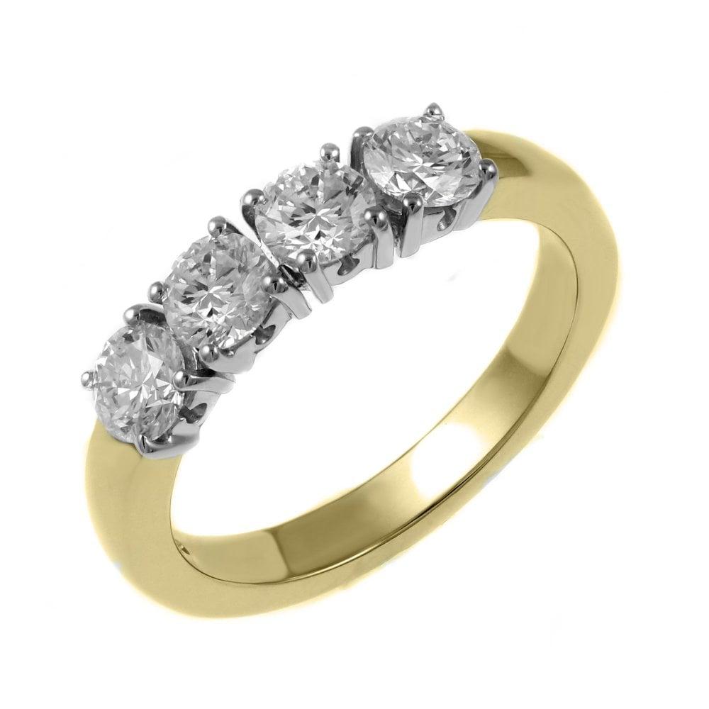 f86f855c87b2c 18ct yellow gold 1.20ct round brilliant diamond 4 stone ring