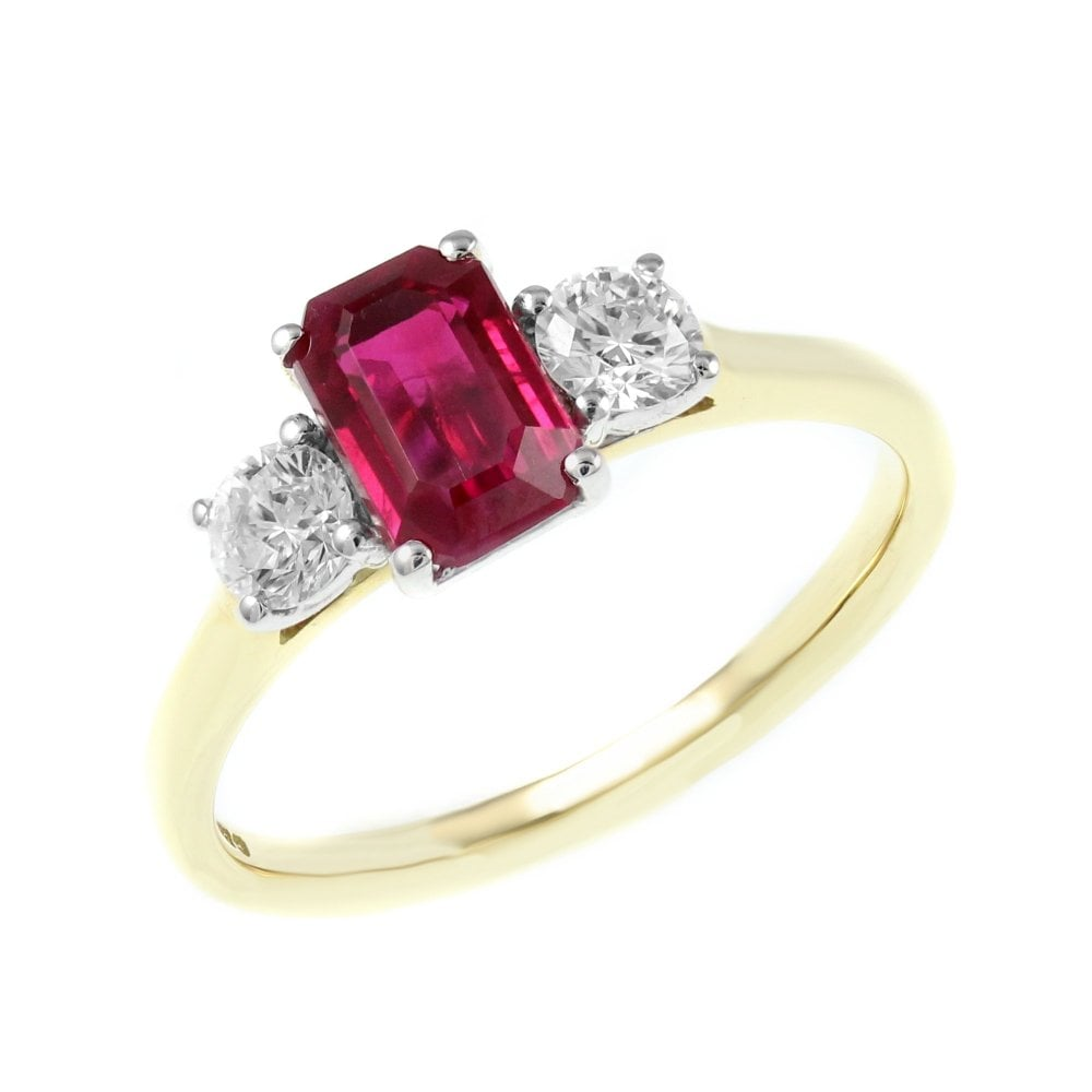 a5bdeb60c 18ct yellow gold 1.28ct ruby & 0.40ct D VS1 3 stone diamond ring -  Jewellery from Mr Harold and Son UK