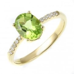 18ct yellow gold 1.37ct peridot & 0.11ct diamond ring.