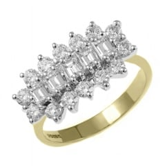 18ct yellow gold 1.38ct 5 stone baguette diamond cluster ring.