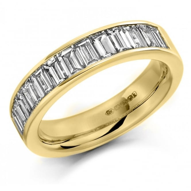 The Raphael Collection 18ct yellow gold 1.50ct baguette cut diamond half eternity ring.
