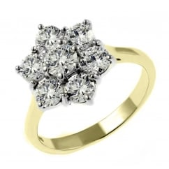 18ct yellow gold 1.50ct diamond flower cluster ring.