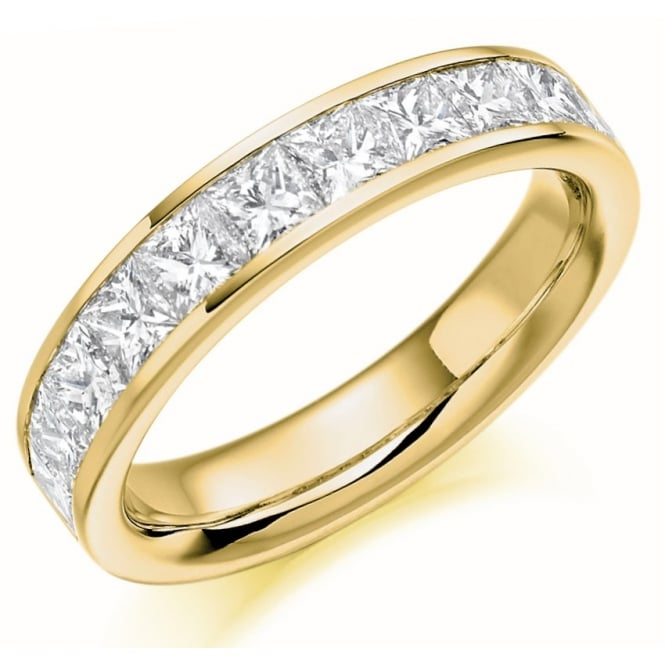 The Raphael Collection 18ct yellow gold 1.50ct princess cut diamond half eternity ring.