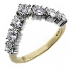 18ct yellow gold 1.50ct round brilliant diamond wishbone ring.