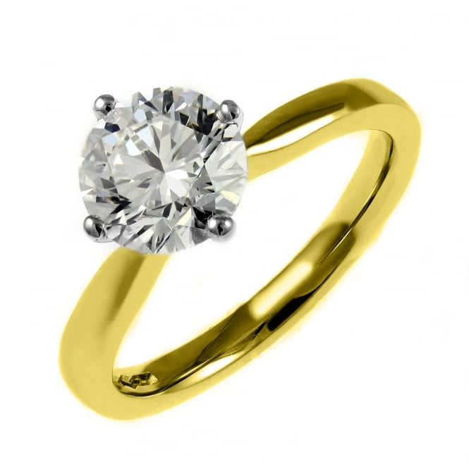 18ct yellow gold 1.53ct round brilliant cut diamond ring.