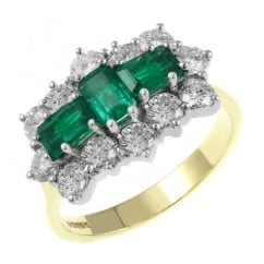 18ct yellow gold 1.61ct emerald & 2.30ct diamond cluster ring