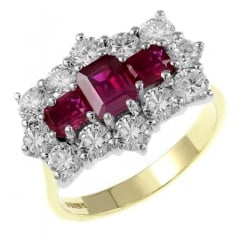 18ct yellow gold 1.74ct ruby & 2.30ct diamond cluster ring