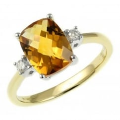 18ct yellow gold 1.88ct citrine & 0.08ct diamond ring.