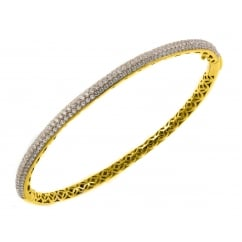 18ct yellow gold 1.95ct pave set diamond bangle.
