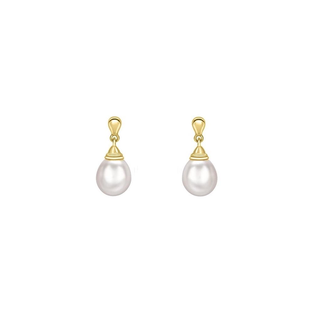 18ct Yellow Gold 12x9mm Freshwater Pearl Drop Earrings