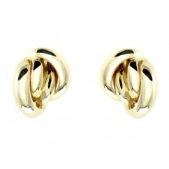 18ct yellow gold 14x11mm cluster stud earrings.