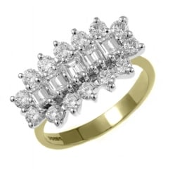 18ct yellow gold 2.00ct 5 stone baguette diamond cluster ring.