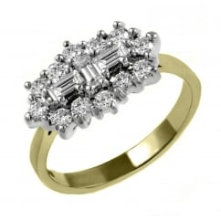 18ct yellow gold 2.00ct baguette diamond cluster ring.