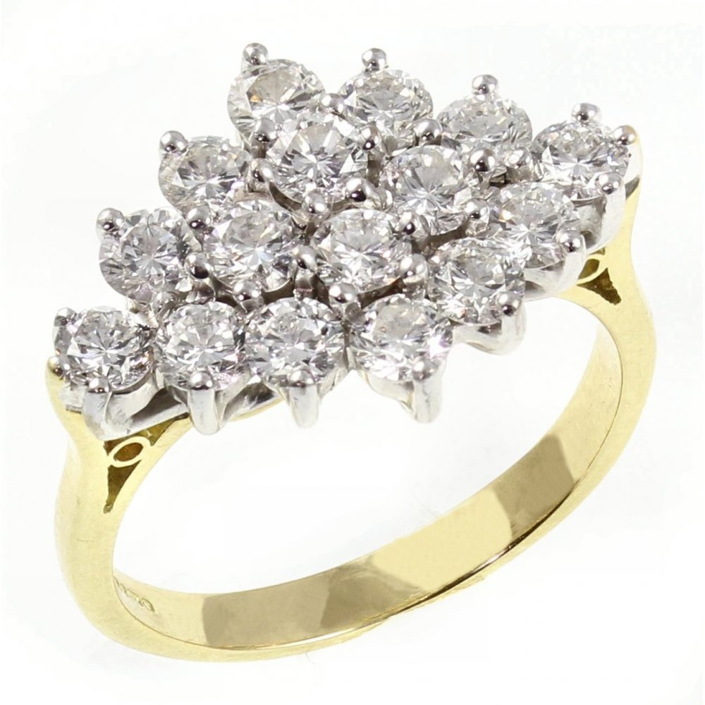 18ct Yellow Gold 2 00ct Boat Shape Diamond Cluster Ring