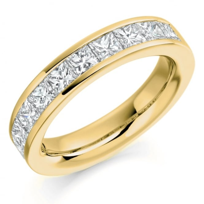 The Raphael Collection 18ct yellow gold 2.00ct princess cut diamond half eternity ring
