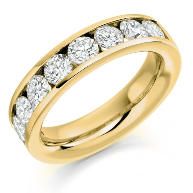 The Raphael Collection 18ct yellow gold 2.00ct round brill diamond half eternity ring.