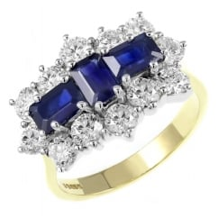 18ct yellow gold 2.05ct sapphire & 2.30ct diamond cluster ring