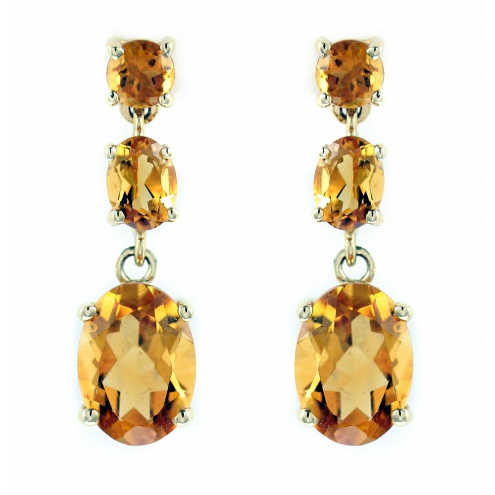 18ct Yellow Gold 2 07ct Citrine 3 Stone Drop Earrings