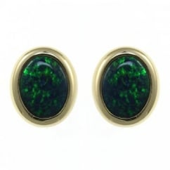 18ct yellow gold 2.49ct oval rubover opal stud earrings.