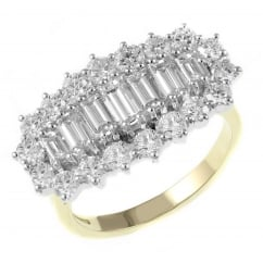 18ct yellow gold 2.50ct baguette cut diamond cluster ring.