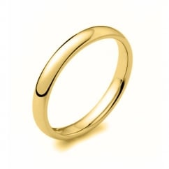 18ct yellow gold 2.50mm medium weight court wedding band.