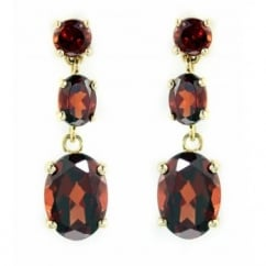 18ct yellow gold 2.56ct garnet 3 stone drop earrings.