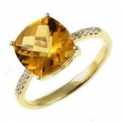 18ct yellow gold 2.58ct citrine & 0.11ct diamond ring.