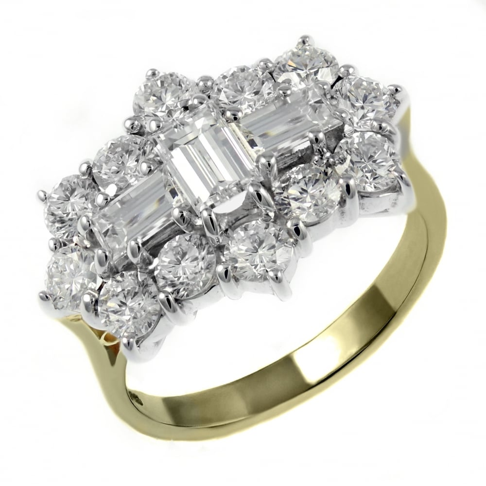 cut baguette engagement shoulders white diamond ring gold vintage rings solitaire with