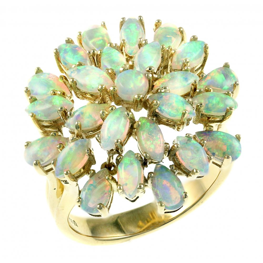 fashion filled jewelry rainbow zircon opal vintage white ring gold stone men women fire band item