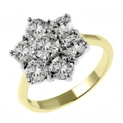18ct yellow gold 2.92ct diamond flower cluster ring.
