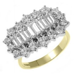 18ct yellow gold 2.97ct 5 stone baguette diamond cluster ring.