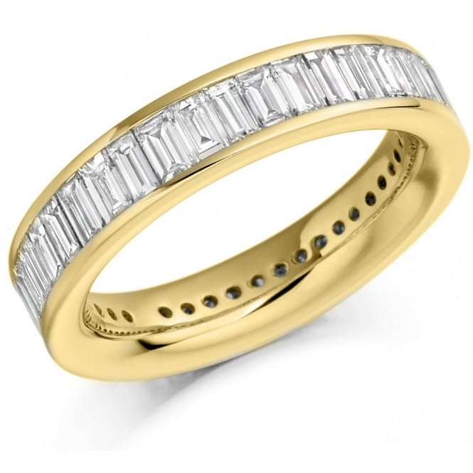 The Raphael Collection 18ct yellow gold 3.00ct baguette cut diamond full eternity ring.