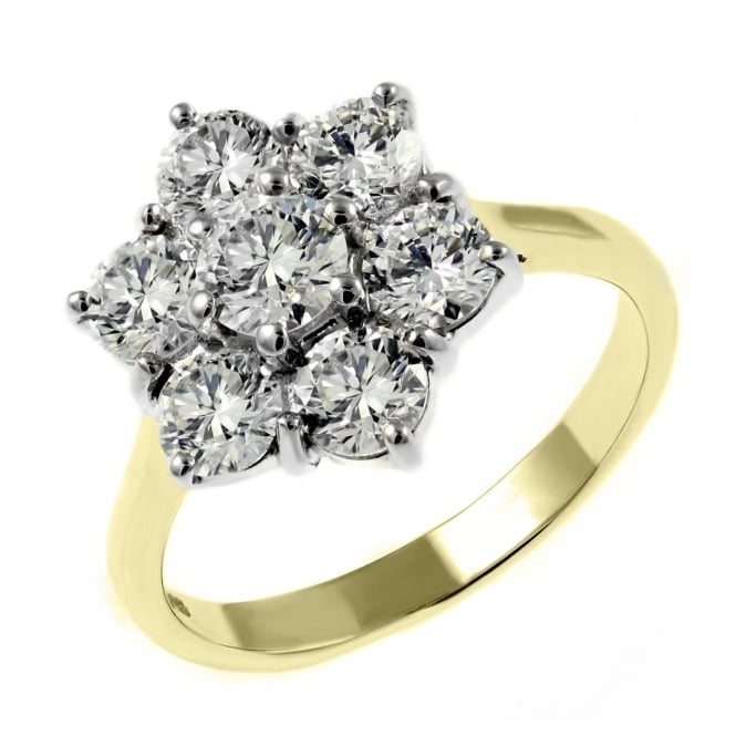 18ct yellow gold 3.00ct F VS2 GIA flower cluster diamond ring.