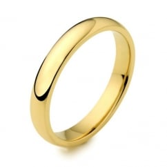 18ct yellow gold 3.00mm medium weight court wedding band.
