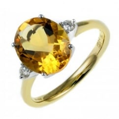 18ct yellow gold 3.06ct citrine & 0.10ct diamond ring.