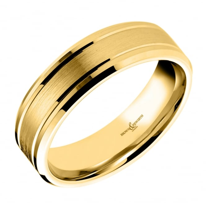 Brown & Newirth 18ct yellow gold 6.00mm satin flat wedding band.