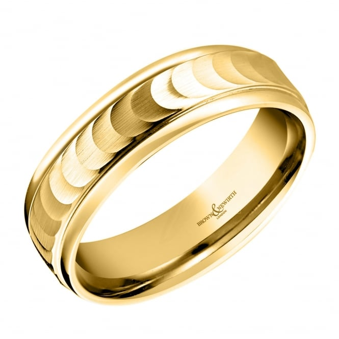 Brown & Newirth 18ct yellow gold 6.00mm water silk finish wedding band.