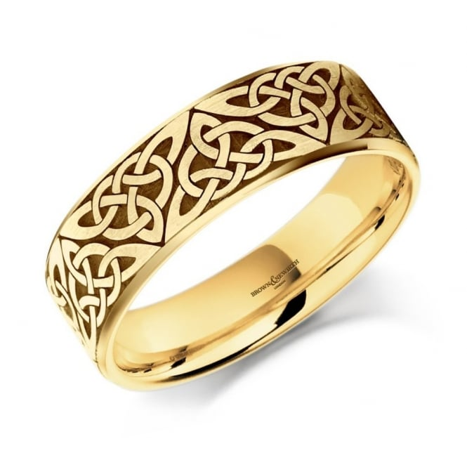 Brown & Newirth 18ct yellow gold 7.0mm satin celtic wedding band.
