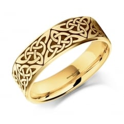 18ct yellow gold 7.0mm satin celtic wedding band.