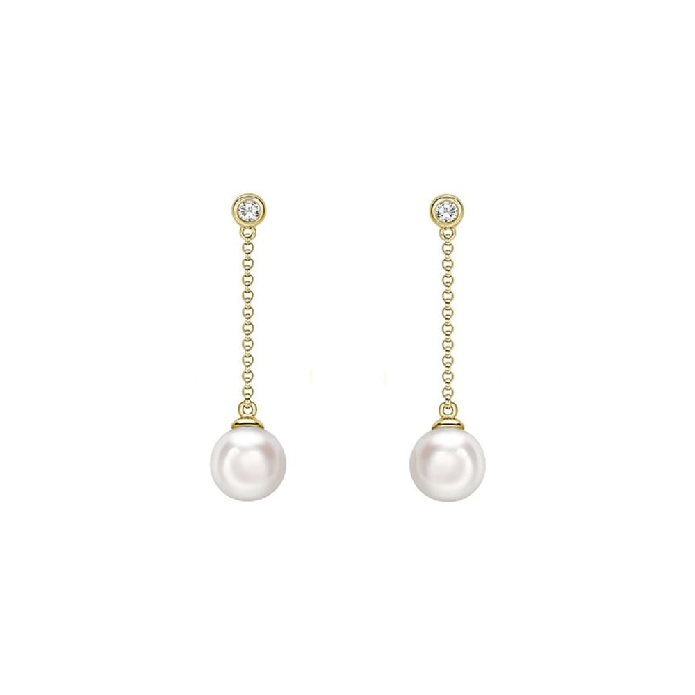 18ct Yellow Gold 7x7mm Akoya Pearl 0 06ct Diamond Drop Earrings
