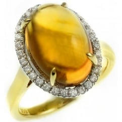18ct yellow gold 9.01ct cabochon citrine & 0.27ct diamond ring.