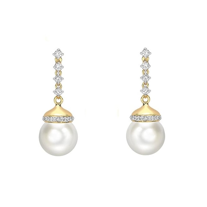 Matt Aminoff Pearls 18ct yellow gold 9mm Akoya pearl 0.25ct diamond drop earrings
