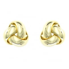 18ct yellow gold 9mm knot stud earrings.