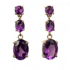 18ct yellow gold amethyst 3 stone drop earrings.