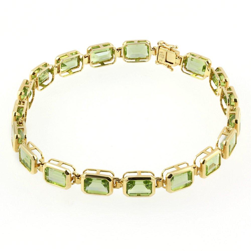 18ct Yellow Gold Bezel Set Emerald Cut Peridot Bracelet