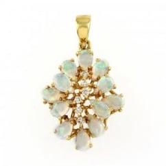 18ct yellow gold opal & diamond cluster pendant.