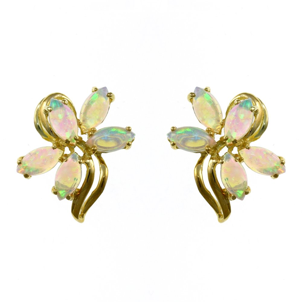 18ct Yellow Gold Opal Flower Cer Stud Earrings